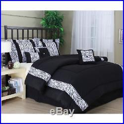 Queen King Bed Black White Zebra Animal Print Stripe 7 pc Comforter Set Bedding