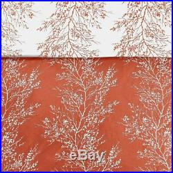 Queen King Bed Coral Orange White Nature Trees Branches Leaf 6 pc Comforter Set