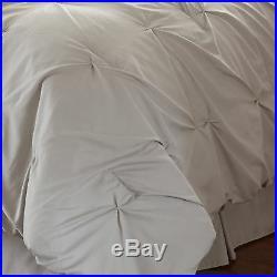 Queen King Bed Light Gray Grey Pintuck Pleat Diamond 8 pc Comforter Set Bedding