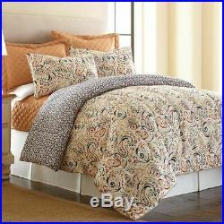 Queen King Bed Orange Gray Grey Floral Paisley Geo Reversible 6 pc Comforter Set