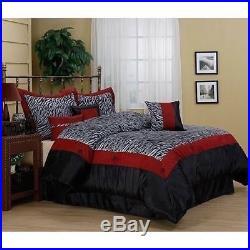 Queen King Bed Red Black White Zebra Print Faux Fur 7 pc Comforter Set Bedding