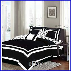 Queen King Bed Solid Black White Hotel Geometric Reversible 7 pc Comforter Set
