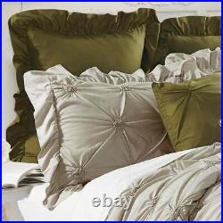 Queen King Bed Taupe Beige Green Pintuck Ruched Pleat Rosette 8 pc Comforter Set
