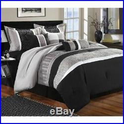 Queen King Size Bed White Black Gray Grey Striped Geo 8 pc Comforter Set Bedding