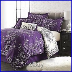 Queen Purple/Ivory 6-Piece Foliage Collection Plush Reversible Comforter Set