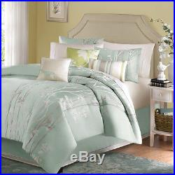 Queen Seafoam Blue w White Gray Floral Plant 7 Pc Comforter Green Pillow Bed Set
