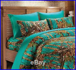 Queen Size 12 Pc Teal Camo Set! Comforter Sheet Curtain Camouflage Blue Green