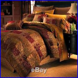 Queen Size Bedding Croscill Galleria Red Damask 4-Piece Comforter Set Bedskirt