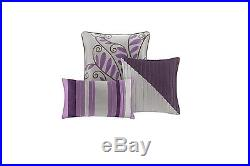 Queen Size Comforter Bed In A Bag Set 7 Pc Modern Purple Gray Striped Pillows