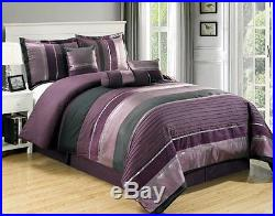Queen Size Comforter Bed In A Bag Set 7 pc Modern Purple Black Silver Stripes