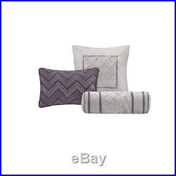 Queen Size Comforter Pillow Set 7 Piece Plum Purple Multi Color Elegant Bedroom