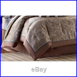 Queen Size Comforter Sheet Set Bed In A Bag Blue Brown Multi 12 Pieces w Pillows