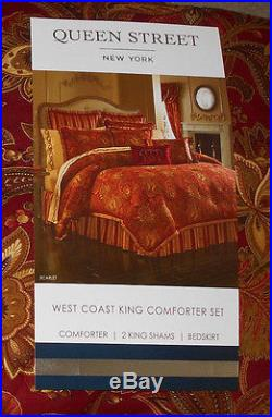 Queen Street New York Scarlett Crimson 4 Pc West Coast King Comforter Set NEW