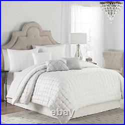 Quilted Dot 7 Piece Full Size Comforter Set in Silver