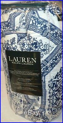 RALPH LAUREN Alma Mosaic Blue 3P FULL/ QUEEN COMFORTER SET NWT