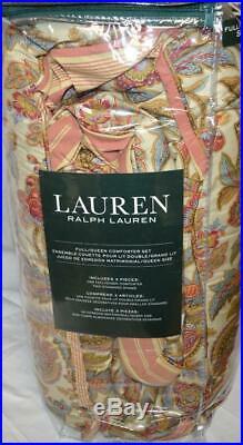 RALPH LAUREN Chapman Floral 3P FULL/ QUEEN COMFORTER SET NWT Red Blue Brown