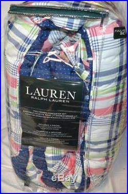 RALPH LAUREN Chappaqua Plaid Red Green Blue 3P FULL/ QUEEN COMFORTER SET Dot