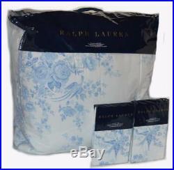 RALPH LAUREN Dauphine FLORAL BIRD 3P FULL/ QUEEN COMFORTER SET Blue White COTTON