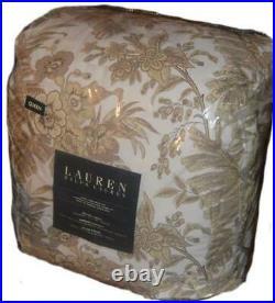 RALPH LAUREN Long Pond Khaki Cream Tan Floral 4PC QUEEN COMFORTER SET NWT COTTON
