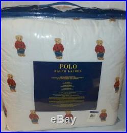 RALPH LAUREN Polo Teddy Bear Boy 3P FULL/ QUEEN COMFORTER SET NEW Red Sweatshirt
