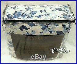 RALPH LAUREN Queen 4 pc Comforter Bedskirt Sham Set Blue FLORAL & STRIPE Cotton