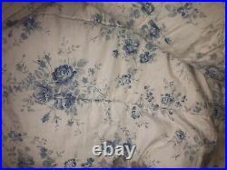 RALPH LAUREN Queen COMFORTER BLUE & WHITE ROSES WILLOW GROVE 2 Pillowcases Set