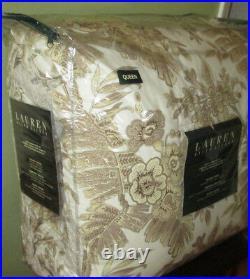 RALPH LAUREN Queen Comforter Set shams bedskirt 4PC BROWN FLORAL STRIPE