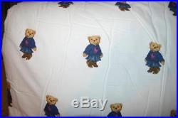 RALPH LAUREN Teddy Bear 3PC FULL/ QUEEN COMFORTER SHAMS SET COTTON NEW CUTE GIRL