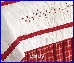 RED BERRY EMBROIDERED Full Queen QUILT SET GARDEN CHRISTMAS WREATH COMFORTER