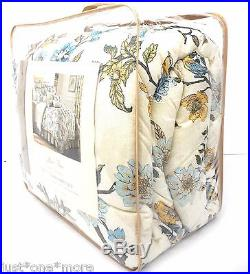 ROSE TREE Harlow QUEEN COMFORTER SET 5pc Pillow! COTTAGE FLORAL Blue Yellow BIRD