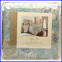 ROSE TREE Odessa QUEEN COMFORTER SET 5pc PILLOW Jacobean Floral Teal Blue Taupe