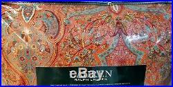 Ralph Lauren Brick Red Coral Turquoise Paisley Medallion 3PC King Comforter Set