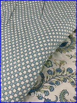Ralph Lauren Fabric Queen Comforter Set Paisley Blue Yellow Shams Bedskirt 4 Pc