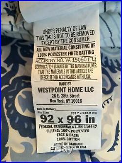 Ralph Lauren Fabric Queen Comforter Set Shams Porcelain Blue Bedskirt Stripe 4Pc