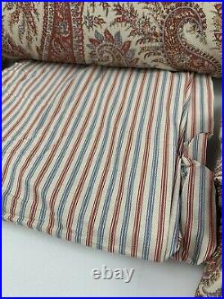 Ralph Lauren Fabric Queen Comforter Set Townsend Paisley Rust Tan Bedskirt 4 Pc