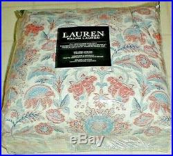 Ralph Lauren Floral Jacobean Coral Blue 3 Pc. Cotton Full/queen Comforter Set