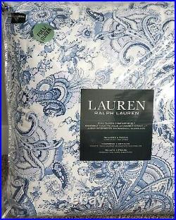 Ralph Lauren Full/ Queen Floral Paisley Blue White Comforter Set 3pc