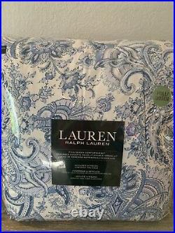 Ralph Lauren Full/ Queen Floral Paisley Blue White Comforter Set 3pc Brand New