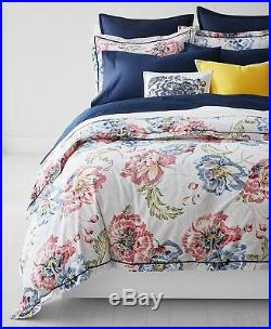 Ralph Lauren Isadora Floral 3-PC FULL/QUEEN Comforter Set Red/Blue Cotton $350