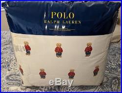 Ralph Lauren Polo Teddy Bear Queen Comforter SET Boy NWT with 2 Standard Sham's