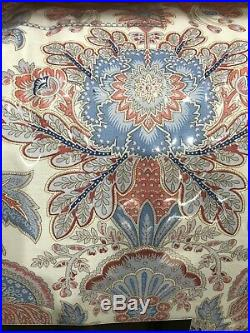 Ralph Lauren Queen 3 Pc Comforter Set Jacobean Medallion Floral Paisley Red Blue