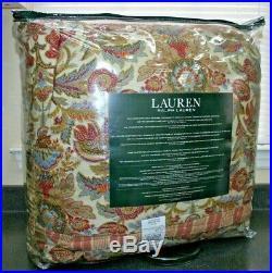 Ralph Lauren Queen Jacobean Floral Red Green Tan 3 Pc 100% Cotton Comforter Set
