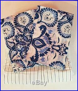 Ralph Lauren Queen Set Shams Porcelain Blue Comforter Bedskirt Stripe READ New