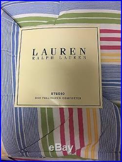 Ralph Lauren STUDIO AWNING STRIPE QUEEN COMFORTER + SHAMS SET NIP