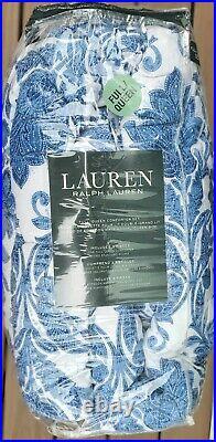 Ralph Lauren White Blue Floral Full Queen Comforter set 2 shams (3pc)