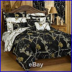 Realtree AP Black Snow Camo Bedding Comforter & Sham Set Twin Full Queen King
