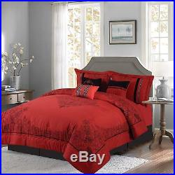 Red & Black 7-piece Nadia Comforter Set Bedding Oversized Royalty Design