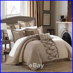 Ruth Ruffled Taupe 8 Piece Comforter Bed In A Bag Set