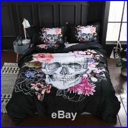SDIII 3PC Sugar Skull Comforter Sets Full/Queen Size Quilt Bedding Set Full/Que