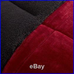 SHERPA PLUSH RED 4pc Full Queen COMFORTER SET FAUX FUR CABIN BLACK BEAR FLEECE